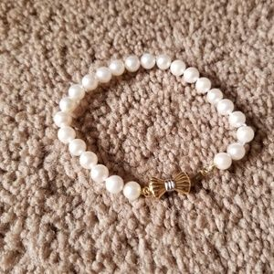Jewelry - Pearl Beaded Bracelet with 14k Gold Clasp & Bow